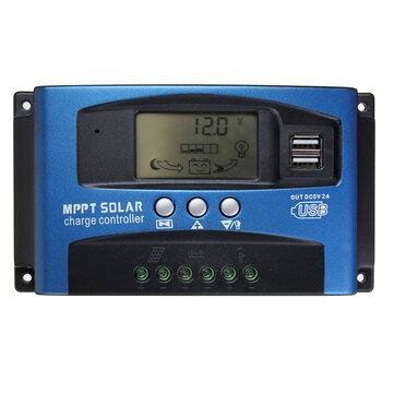 30/40/50/60/100A MPPT Solar Controller LCD Solar Charge Controller Accuracy Dual USB Solar Panel Battery Regulator