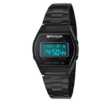 SANDA 406 Digital Watch Men Fashion Stainless Steel Strap Calendar Clock Waterproof Sport Watch