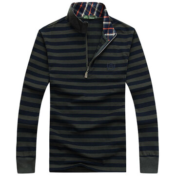 Mens Stripe Stand Color Loose Zipper Thick Fashion Casual Long Sleeve T-shirt