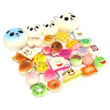 12PCS Random Kawaii Squishy Panda Bun Toasts Multi Donuts Squishy Soft Cell Phone Straps