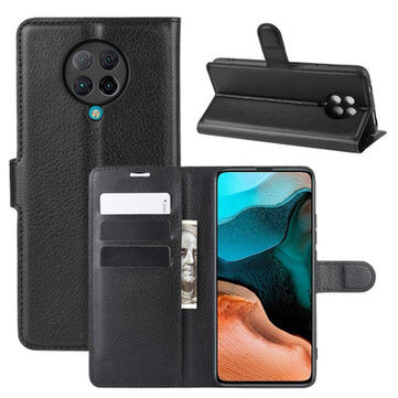 Bakeey for Poco F2 Pro Case Litchi Pattern Magnetic Flip with Multiple Card Slots Foldable Stand Shockproof PU Leather Full Body Protective Case