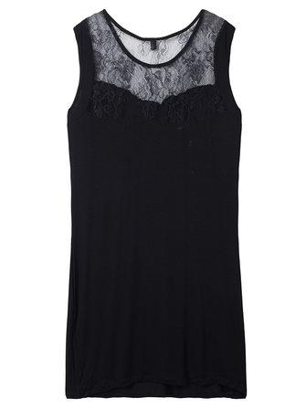 सेक्सी ब्लैक फीता पैचवर्क खोखले आउट स्लीवलस बॉडीकॉन महिला ड्रेस