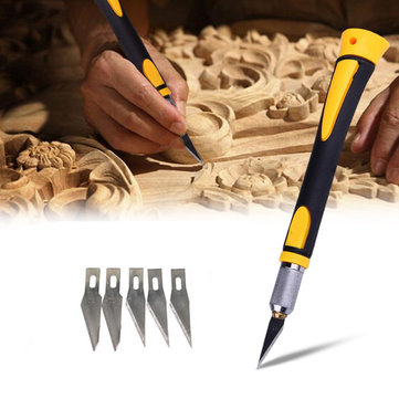 Wood Carving Tool Sharp Non-slip Handle Crafts Art Hobby Sculpture Cutter Tool with 5Pcs Blades