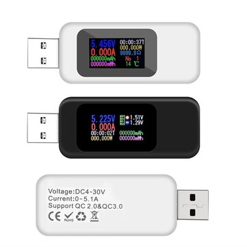 DANIU Digital 10 in 1 Colorful LCD Display USB Tester