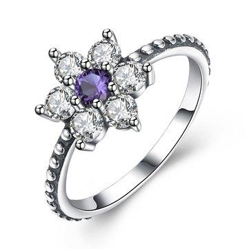 Luxury 925 Sterling Silver Rings Flower Zirconia Engagement Ring Valentine's Day Gift for Girl Women