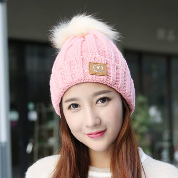 Fashion Women Winter Ski Knit Beanie Hat Thicken Windproof Skull Cap with Wool Ball