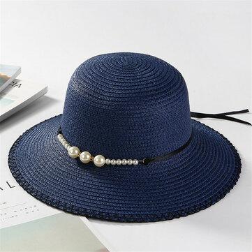 Phụ nữ mùa hè rơm rộng vành mũ rộng vành Kem chống nắng bình thường Visor Beach Sun Mũ Panama