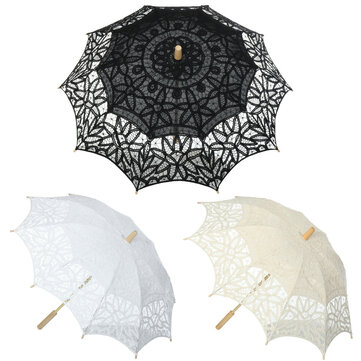 Buy Embroidered Umbrella Cotton Lace Parasol Bridal Wedding Party Decoration Photograph Costume Accessories with 2 on Gipsybee.com