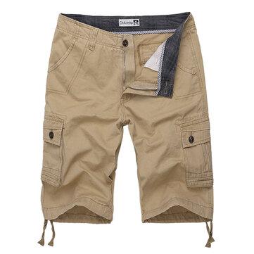CharmkpR पुरुषों बड़े आकार 30-46 मल्टी पॉकेट ठोस रंग आरामदायक कपास लूज आउटडोअर शॉर्ट्स