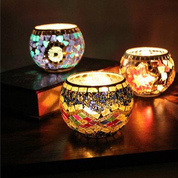 Handicraft Mosaic Glass Candle Stick Candle Holder Candelabra Home Wedding Decor Gift
