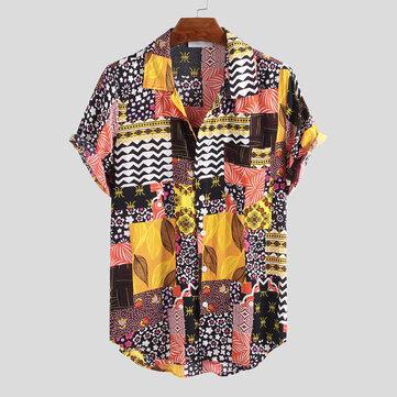 Mens Summer Ethnic Printed Colorful Kortärmad Casual Skjortor