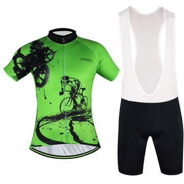 Hombre transpirable cómodo acolchado manga corta bicicleta ciclismo conjunto de ropa