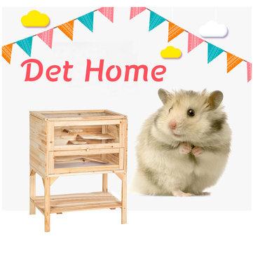 Wooden 3 Tiers Hamster Cage Casa di legno Pet Mouse Piccoli animali Ratti Esercizio