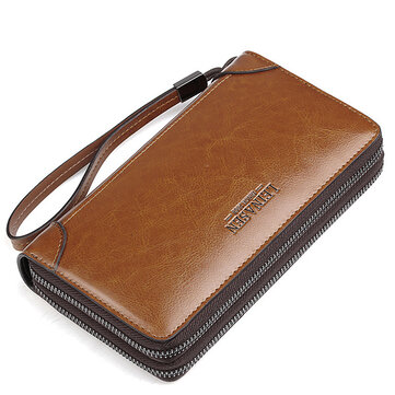 Multi-function Business Clutch Bag High-capacity Genuine Leather Oil Wax Wallet