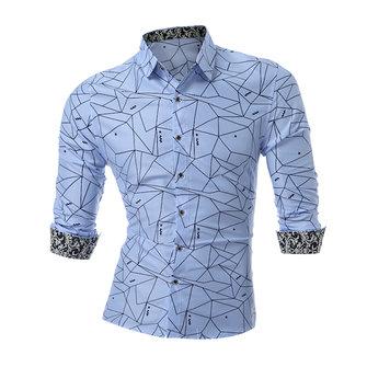 Mens Geometric Pattern Printing Plus Size S-5XL Fashion Long Sleeve Slim Fit Shirts