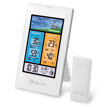 DIGOO DG-EX003 Vertical Color Screen Weather Station Temperature Humidity Outdoor Sensor Thermometer Hygrometer - White