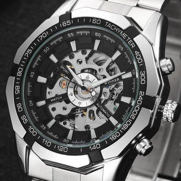 MN4493 Men Full Stainless Steel Watch Self-Wind Mechanical Wrist Watch