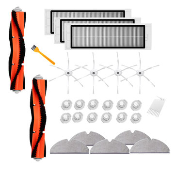 28PCS Replacements for Roborock Vacuum Cleaner Water Tank Filters*12 Mop Cloths*5 Side Brushes*4 Filters*3 Main Brushes*2 Yellow Brush*1 White Brush*1