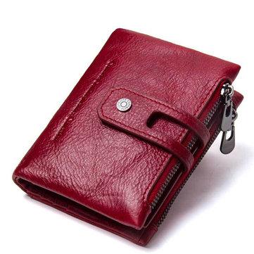 Women Vintage Genuine Leather Wallet Card Holder Coin Bag