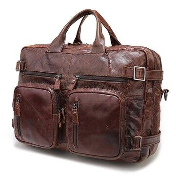 High-capacity Vintage Genuine Leather Men Bag  Laptop Handbag Travel Backpack