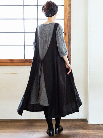 Women Multi-wear Japanese Style Cotton Solid Apron Dress with Pockets