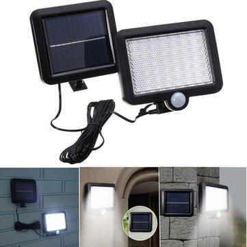 Солнечная Мощность 56 Белый LED PIR Движение Датчик Свет наводнений Водонепроницаемы На открытом воздухе Сад Безопасность Лампа