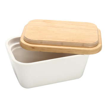 Butter Box Dish Holder Serving Storage Container Wood Melamine with Lid