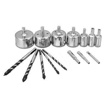 Meco 15pcs Diamond Tool Drill Bits Hole Saw Cutter Tipped Tools Kit For Glass Ceramic Marble