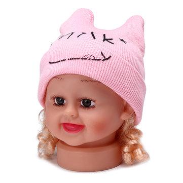 बेबी किड्स कपास कैप न्यूबर्न प्यारा मुस्कुराहट गर्म हेट बुनाई हॉर्न के साथ हेडगियर