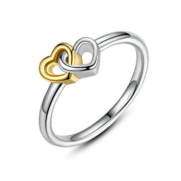 Sweet Gold Silver Heart Women Ring Classic Anallergic Wedding Band Bridal Ring for Women