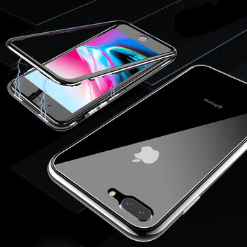 Bakeey Magnetic Adsorption Clear Tempered Glass Case + Tempered Glass Film For iPhone X/8/8 Plus/7/7 Plus
