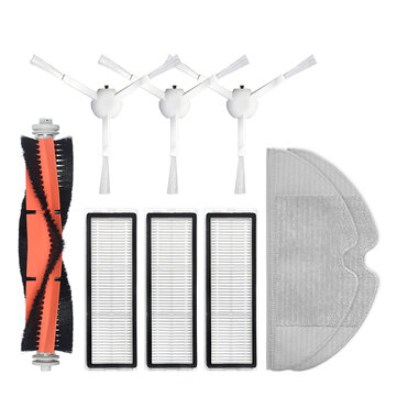 9pcs Replacements for Xiaomi Mijia 1C 1T Dreame Bot L10 Pro F9 Vacuum Cleaner Parts Accessories Main Brush*1 Side Brushes*3 HEPA Filters*3 Mop Clothes*2 Non_original