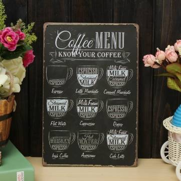Cà phê Menu Menu Kim loại Vẽ Kim loại Tin Tin Cafe Wall Tavern Đăng ký