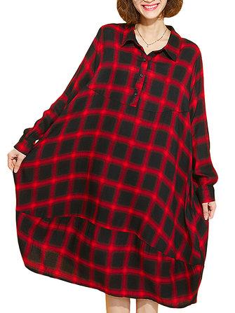 आरामदायक प्लेड लैपल लंबी आस्तीन लूज महिला शर्ट ड्रेस