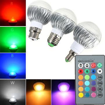 B22 / e27 / e14 rgb 5W remoto mudando de cor controlado LED lâmpada AC 85-265V