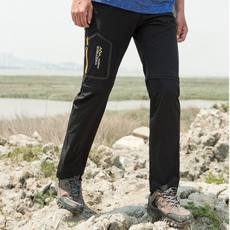 Mens Outdoors Elastic Detachable Water Repellent Sport Pants Quick Drying Breathable Climbing Trousers
