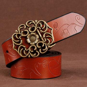 110CM Women 100% Second Layer Belt Cow Genuine Leather Flower Strap Retro Lotus Leaf Buckle Belts