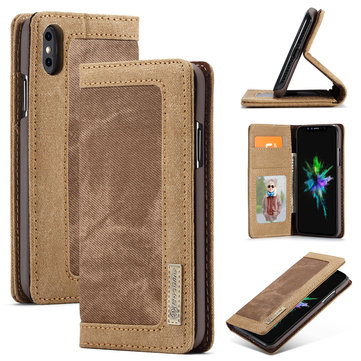 Caseme Protective Case For iPhone XS Max Canvas Magnetic Flip Bracket Wallet Cover