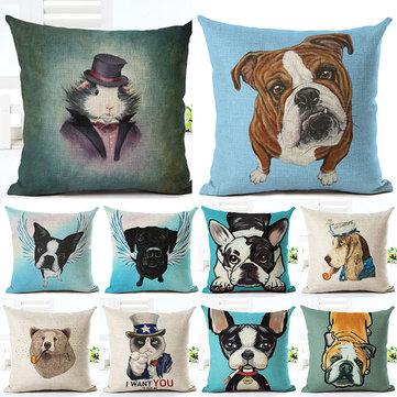 Honana 45x45cm Home Decoration Cartoon Cat Dog Animals Design 10 Optional Patterns Cotton Linen Pillowcases Sofa Cushion Cover