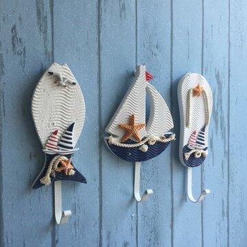 Perchas de ropa pothook sombrero náutico de la pared ganchos de estilo mediterráneo decoración colgantes