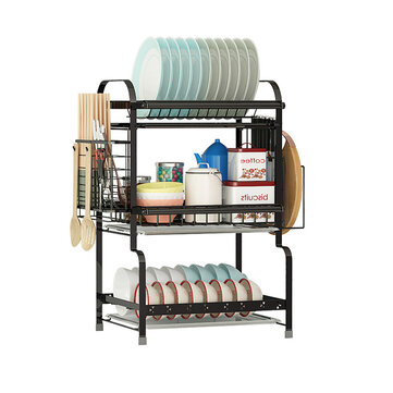 2/3 Layers Stainless Steel Over Sink Dish Drying Rack Storage Multifunctional Arrangement for Kitchen Counter