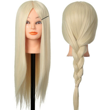 30% Blonde Real Human Hair Training Hairdressing Head Mannequin Clamp Holder