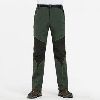 Autumn Winter Outdoor Water-repellent Soft Shell Pants Men's Warm Fleece Lining Sport Climbing Pants