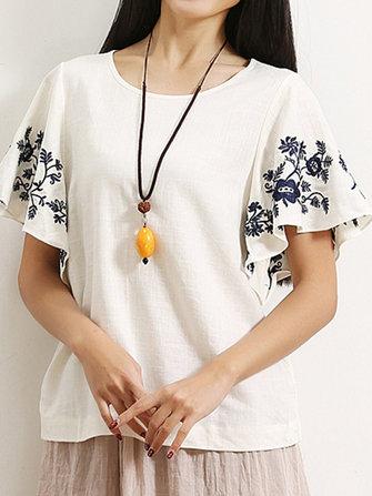 ग्रीष्मकालीन आरामदायक महिला लघु आस्तीन ओ-गर्दन कढ़ाई टी शर्ट