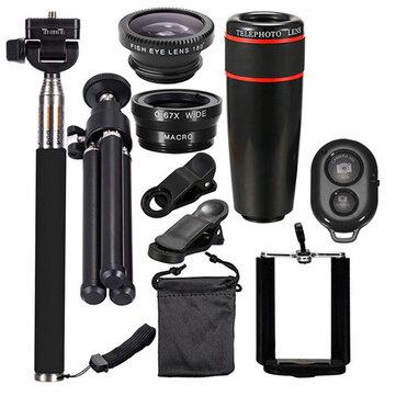 10 in 1 Akıllı Telefon Kamera Lens Klipli Evrensel Optik Teleskop Kit Mobil Zoom