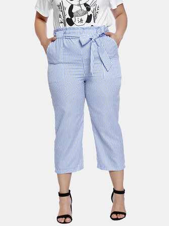 How can I buy Plus Size Women Stripe Print Pocket Bow-knot Belt Casual Pants with Bitcoin