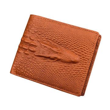 メンズ本物のレザーアリゲーターパターンショート財布ヴィンテージカジュアル名刺ホルダーコインバッグ