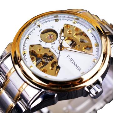 WINNER 378 ניילון מתפתל שעונים ידני Classic נירוסטה רצועת פלדה גברים שעונים שעונים