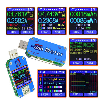 Bakeey UM25C/UM25 USB2.0 Color LCD Display Type C Voltage Current Cable Resistance Measure Tester