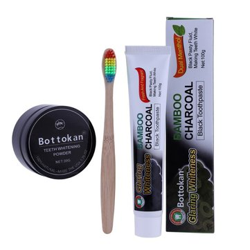 Natural Bamboo Charcoal Toothbrush Toothpaste Kit Rainbow Bamboo Soft Whitening Toothbrush